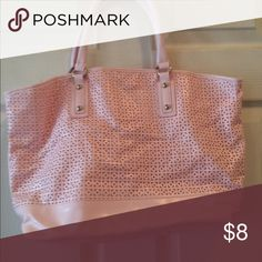Light pink tote. Light pink leather like tote. Button closure. Button is coming off. Bags Shoulder Bags