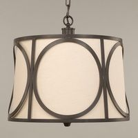 """Vaughan Girona Hanging Shade in Bronze. Shown with a 16 1/2"""" Lily Linen Lampshade. Lampshades available in customers own fabric, Vaughan embroidered fabric or plain linen or silk"""