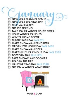 Glam January 2018 Seasonal Living Lists by Paper & Glam.png 1,500×2,100 pixels