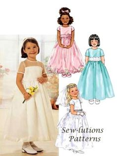 Girls DRESS & VEIL Sewing Pattern  Pageant Party Dresses