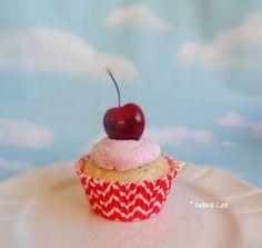 Fake Cupcake Fake Food Handmade Faux Black Cherry Cream Frosting Vintage Retro Classic Cherry Chevron Decor Display - Imagine Out Loud