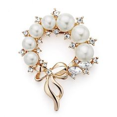 Pearl And Crystal Snowflake Brooch ~ Christmas Gift ~