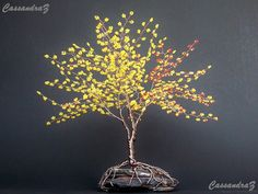 Yellow Wire Tree Beaded Bonsai Sculpture. van CassandraZ op Etsy