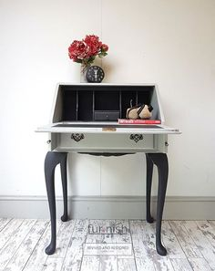 This elegant writing bureau is full of character and charm, with long cabriole legs with original handles, working lock and key. Made from solid wood it has been carefully hand finished with an earl grey chalk paint colour externally and a noir paint internally to create drama and contrast. #remadeintheuk #furnishuk Gray Chalk Paint, Chalk Paint Colors, Chalk Paint Furniture, Hand Painted Furniture, Recycled Furniture, Colorful Furniture, Home Decor Furniture, Vintage Furniture, Desk Makeover
