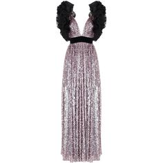 Rasario     Ruffle Shoulder Sequin Gown ($2,550) ❤ liked on Polyvore featuring dresses, gowns, gold, purple evening dresses, gold sequin evening gown, gold sequin dress, sequin dresses and sequin ball gown