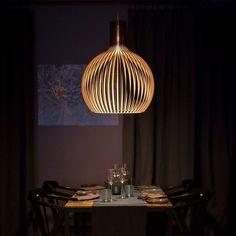 Secto Design original pendant made of finnish birch wood Fluorescent Light Diffuser, Fluorescent Light Covers, Interior Ceiling Design, Decor Inspiration, Interiores Design, Lighting Design, Lightning, Sweet Home, Ceiling Lights