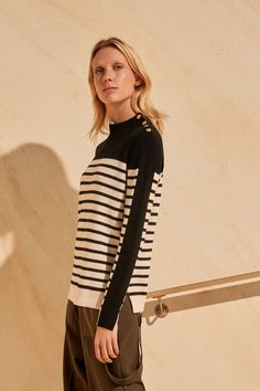 ME+EM's Breton Stripe Sweater offers a new take on the classic Breton. Crafted from a heavyweight blend of cotton and merino wool, it is finished with vintage-inspired statement gold buttons at the shoulder for a touch of old-school glamour. Black Sweaters, Sweaters For Women, Breton Stripes, Slim Arms, Knitwear Fashion, Striped Tee, Pleated Skirt, Spring Summer Fashion, Pullover Sweaters
