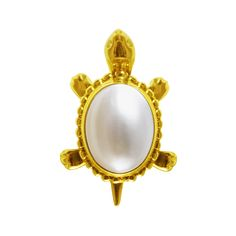 Estate 14k Yellow Gold and Pearl Turtle Pin