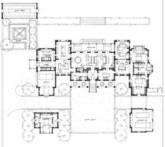 Chickering Residence mansion  by Pfeffer Torode Architecture. Main level floor plan. Features attached and detached garage and formal courtyard.