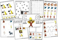 FREE Curious George Worksheets for Kids! Love these fun alphabet, number, counting, and writing practice for Toddler, Preschool, Kindergarten