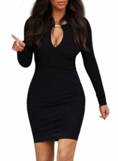 Amazon.com  Miusol Keyhole With Metal buckle Open-Chest Bodycon Pencil  Party Dress 81027b8b2