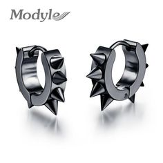 Modyle fashion hiphop small Stud earrings stainless steel punk black ear jewelry…