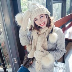 76b8064f4b9a3 Ladies hat scarf and gloves set for winter peal knitted bobble hats