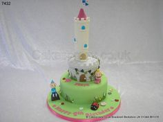 Ben Holly's Little Kingdom Cake. An enchanted little kingdom castle. Three tier Ben and holly little kingdom themed cake with its castle and tower including hand modelled Ben, Holly, and Gaston characters Ben And Holly Cake, Ben Y Holly, Daughter Birthday, 3rd Birthday, Birthday Parties, Birthday Ideas, School Cake, Cupcake Cakes, Cupcakes