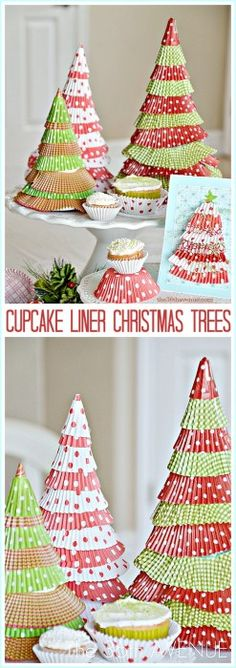 Easy Handmade Christmas Tree  Tutorial using cupcake liners and card stock. Enjoy making this Christmas craft with your kids! Super easy and cute! ©the36thavenue.com – DO NOT Copy, Save or Paste this image, post, or tutorial. Are they FUN or what?! This is such an easy and affordable...
