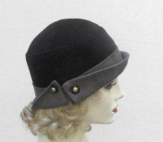 Black Velvet 1920s Cloche Hat | creationsbygail - Accessories on ArtFire
