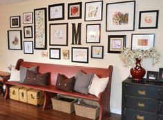 Ideas to personalize a home with a kids art gallery wall above a painted church pew. Kylie M Interiors