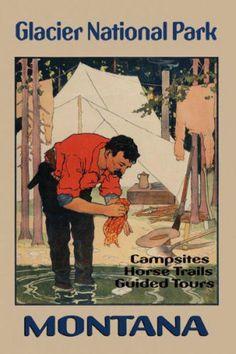 Montana Glacier National Park USA US Horse Trails Vintage Poster Repro Free s H   eBay