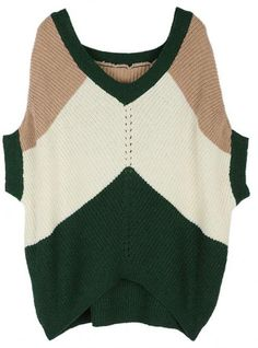 Bat Sleeve V Collar Color Block Sweater Green$42.00