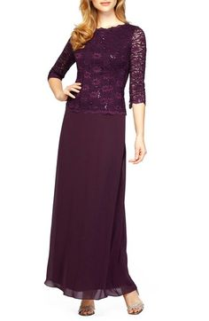 Alex Evenings Sequin Lace & Chiffon Gown (Regular & Petite) available at #Nordstrom