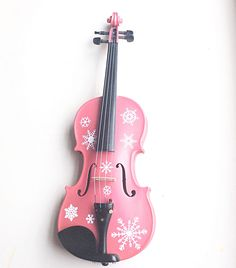 Designer Classic Pink Violin & Snowflake Decals. An extension of our homage to children's love of FROZEN.  http://www.rozannasviolins.com