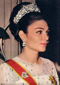 Empress Farah of Iran wearing the Noor-ol-Ain Tiara by Harry Winston. It…