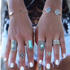 """vanessamooneyjewelry: """"Our Nova Silver & Turquoise Ring// Diamond Lace Silver Ring & Cuff// The Stardust Gold Cuff all over this magical girl @gypsylovinlight ✨ Available online & in stores!..."""