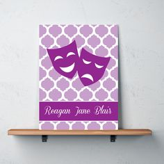 Our personalized quatrefoil canvas with theatre masks will look great in your bedroom or dorm room.  You can customize it with the colors of your choice or choose the purple and white combo, as shown.  This unique, custom wall art would make the perfect Christmas present or birthday gift for any girl who loves to musical theatre or theatre.  #acting #drama #masks #theatre #theater