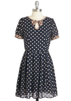 Coffee Shop Splendor Dress. You've donned this dotted navy dress for a last-minute meet-up at your favorite cafe - and you couldnt be more delighted with your chiffon frock! #blue #modcloth