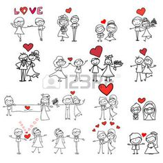 wedding: hand drawing cartoon happy couple wedding Illustration