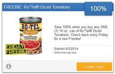 SavingStar Friday Freebie: 100% Saving on Rotel Diced Tomatoes!