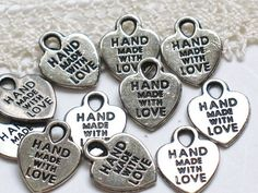 Set Of 25 Made with Love Metal Charms for craft and handmade items - Silver