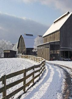 Country Barns ~ In Winter Snow Country Barns, Country Life, Country Roads, Country Living, Country Charm, Farm Barn, Old Farm, Snow Scenes, Winter Scenes