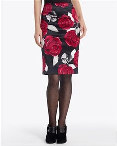 White House Black Market - Satin Rose Pencil Skirt $98.00 Black