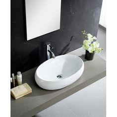 Fine Fixtures Modern Vitreous China Bulging Oval Vessel Sink Vessel Bathroom Sink
