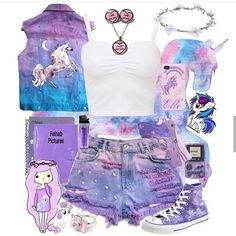What a wonderful outfit! I want to wear it every day. Cute Girl Outfits, Kids Outfits Girls, Cute Outfits For Kids, Pretty Outfits, Cute Clothes For Kids, Cool Clothes, Unicorn Fashion, Unicorn Outfit, Pastel Goth Fashion