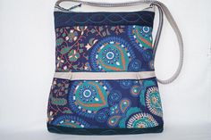 Blue bag flower bag large  bag shoulder bag green fantasy