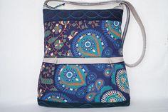 Blue bag flower bag large  bag shoulder bag green fantasy