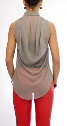 Grey Blouse Chiffon Shirt Chiffon Top by HannaBoutiqueDesign