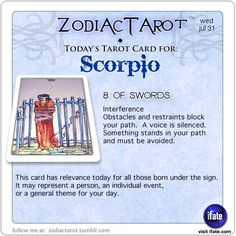 Daily tarot card for Scorpio from ZodiacTarot! What phase was the moon on the day you were born?  Find out on iFate.com!