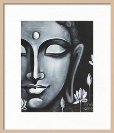 Art Discover Peace Framed Print by Pratibha Madan Art Painting Gallery, Sketch Painting, Mural Painting, Buddha Drawing, Buddha Art, Buddha Canvas, Budha Painting, Black Background Painting, Oil Pastel Art