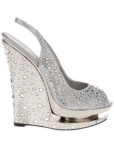 Bling Bling Bling Gianmarco Lorenzi - silver tone crystal embellished wedge ♥♥♥♥♥ Want! Bling Bling, Cute Shoes, Me Too Shoes, Wedge Shoes, Shoes Heels, Slingback Shoes, Louboutin Shoes, Christian Louboutin, Dress Shoes