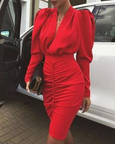 2020 Office Lady Spring Pleated bodycon Dress Women Puff Long Sleeve Slim Club Party Dress Elegant Sexy V-neck Workwear Dress p Robe Bodycon, Leg Of Mutton Sleeve, Fashion Pattern, Red Midi Dress, Midi Dresses, Dress Robes, Dress Prom, Silk Dress, Club Party Dresses