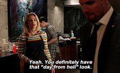 Felicity Smoak knows her husband's facial expressions!