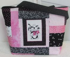 Black And White Cat Large Tote Bag Pink Quilted purse by Mokadesigntotes, $38.00