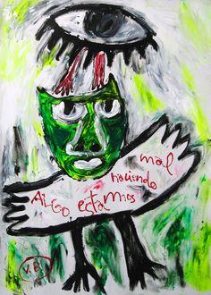 """""""Algo estamos haciendo mal"""" de Victoria Barranco @ VirtualGallery.com - Pintura acrílica en cartón de 50x70 cm (19.7x27.6 in). Arte marginal. Figura de un pájaro en tonos verdes vigilado por un gran ojo que representa el devenir de la naturaleza. (2015)"""