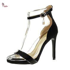 Angkorly - Chaussure Mode Escarpin Sandale stiletto lanière cheville sexy femme boucle brillant Talon haut aiguille 11 CM - Noir - C-252 T 39 - Chaussures angkorly (*Partner-Link)
