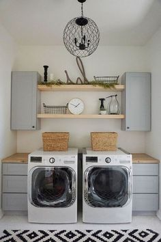 50 Beautiful and Functional Laundry Room Design Ideas Laundry room decor Small laundry room ideas Laundry room makeover Laundry room cabinets Laundry room shelves Laundry closet ideas Pedestals Stairs Shape Renters Boiler Room Makeover, Room Design, Room Organization, Basement Laundry Room, Room Remodeling, Laundry Room Organization Storage, Room Storage Diy, Room Tiles Design