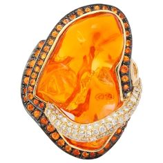 Mexican Opal Orange Sapphire Diamond Gold Ring | From a unique collection of vintage cocktail rings at https://www.1stdibs.com/jewelry/rings/cocktail-rings/