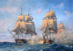 Patrick O'Brien. USS CONSTITUTION vs HMS CYANE and HMS LEVANT, February 20, 1815. As the Battle commences CONSTITUTION trades broadsides with LEVANT.. J. Russell Jinishian Gallery, Inc.